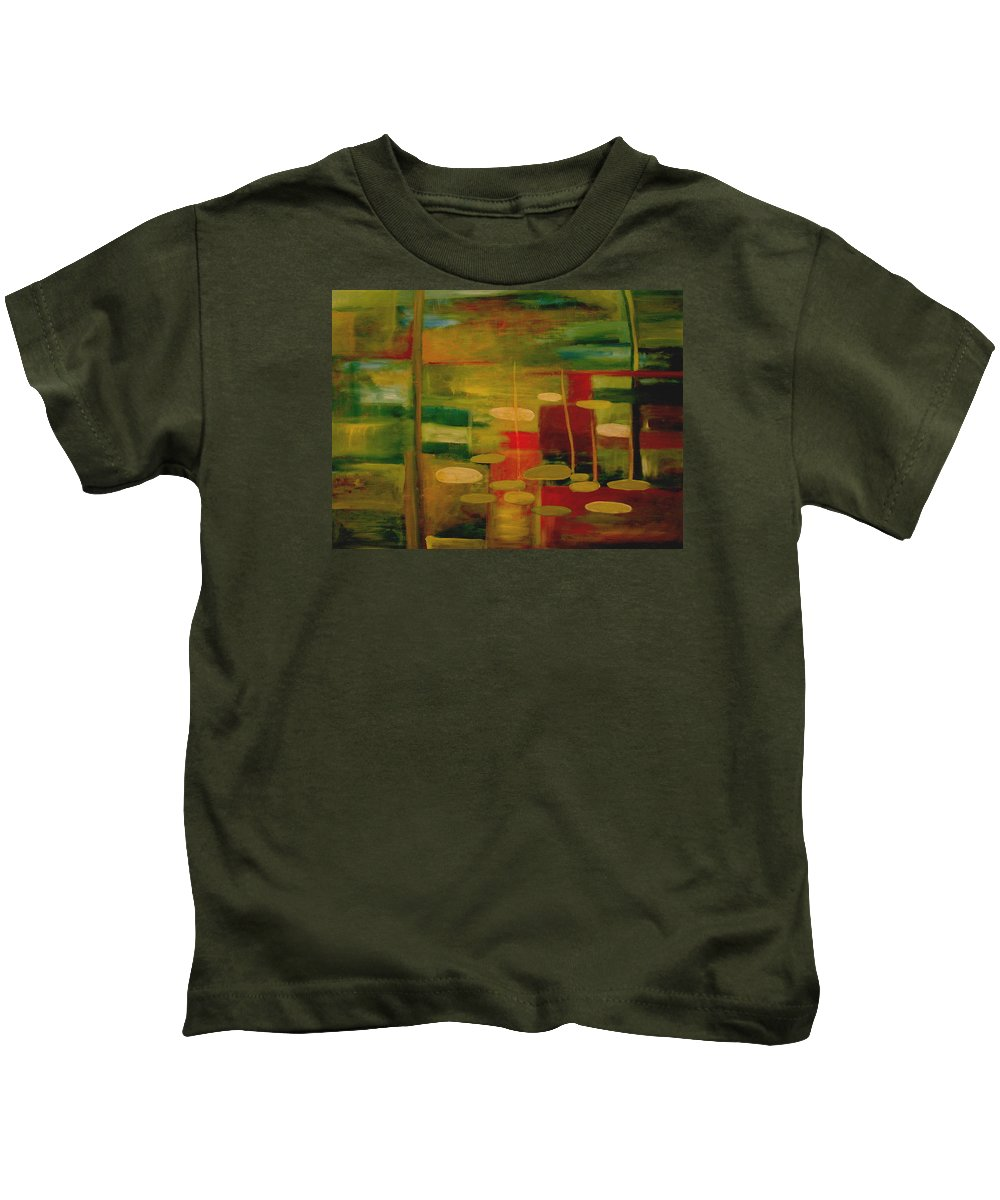 Pond Kids T-Shirt featuring the painting Pond Reflections by Jun Jamosmos
