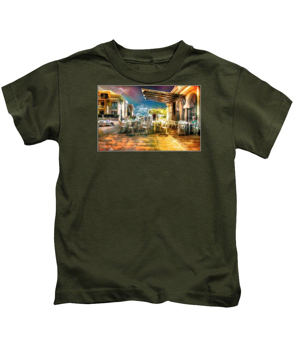 Es Canutells Kids T-Shirt featuring the digital art Poolside Bar by John Lynch