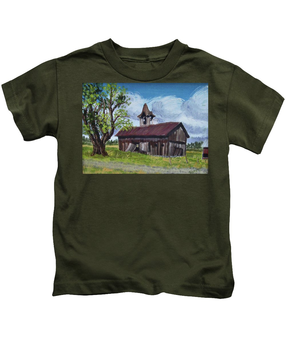 Landscape Kids T-Shirt featuring the painting Poor Old Barn by Cathy Shepard