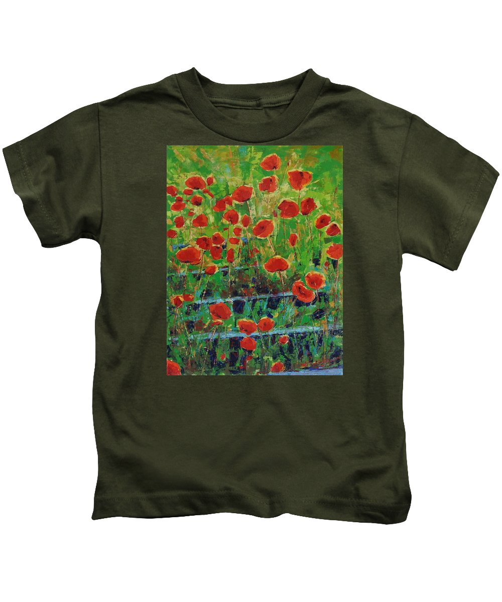Poppies Kids T-Shirt featuring the painting Poppies And Traverses 1 by Iliyan Bozhanov