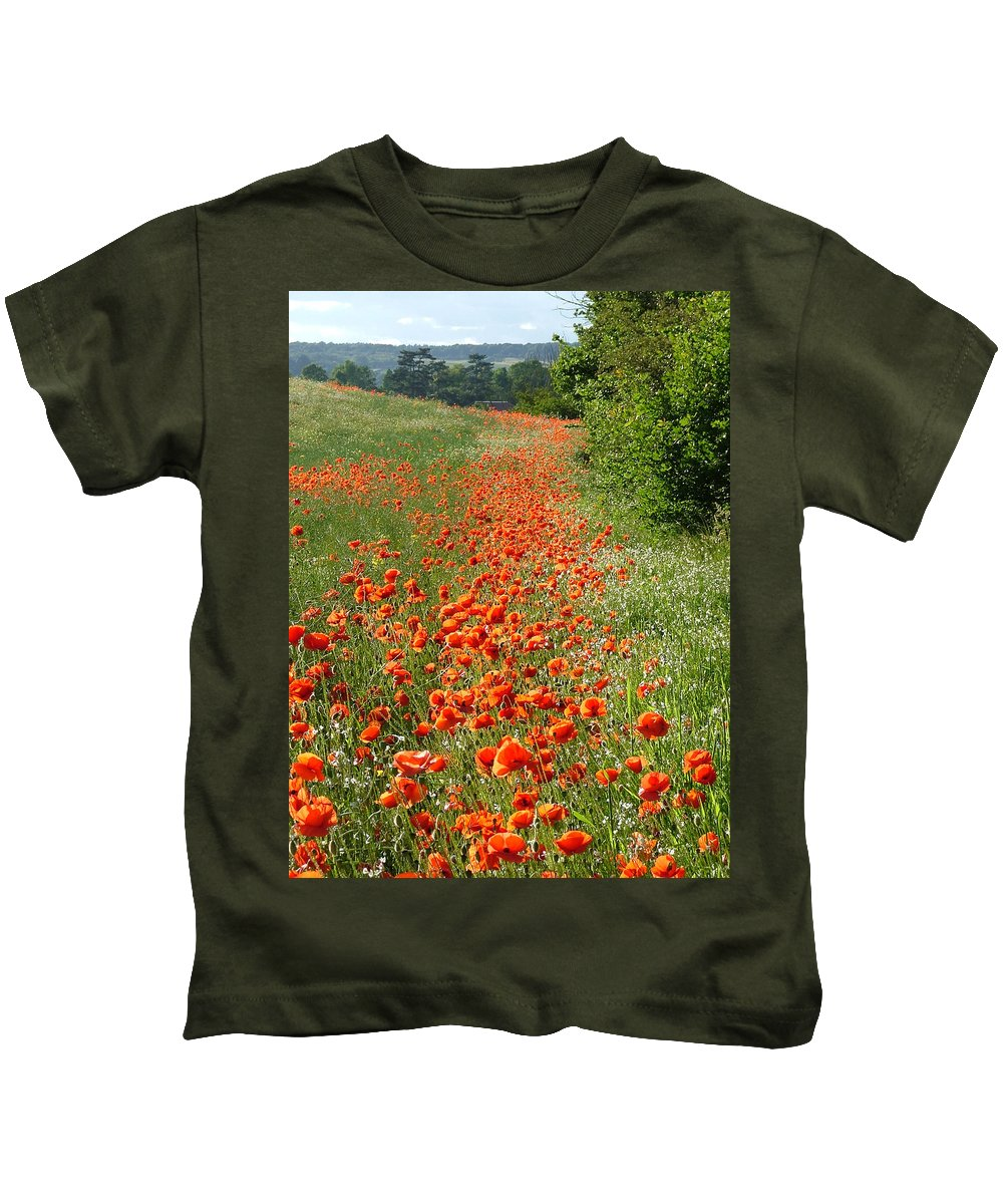 Poppies Kids T-Shirt featuring the photograph Poppies Awash by Bob Kemp