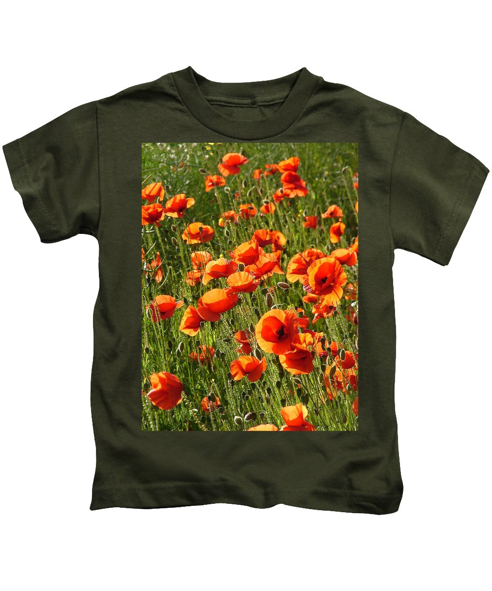 Poppies Kids T-Shirt featuring the photograph Poppies by Bob Kemp