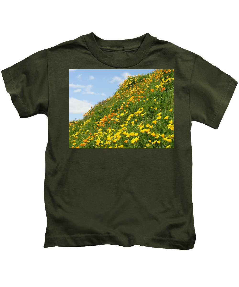 �poppies Artwork� Kids T-Shirt featuring the photograph Poppies Hillside Meadow 17 Blue Sky White Clouds Giclee Art Prints Baslee Troutman by Baslee Troutman
