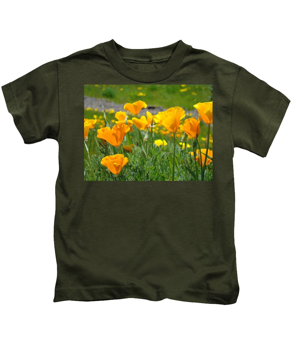 �poppies Artwork� Kids T-Shirt featuring the photograph Poppies Meadow Summer Poppy Flowers 18 Wildflowers Poppies Baslee Troutman by Baslee Troutman