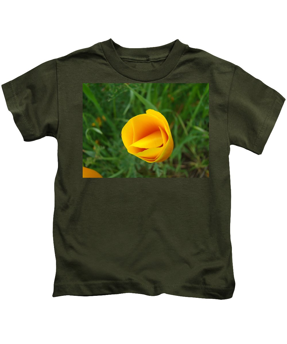�poppies Artwork� Kids T-Shirt featuring the photograph Poppy Flower Bud 9 Orange Poppies Green Meadow Art Prints Baslee Troutman by Baslee Troutman