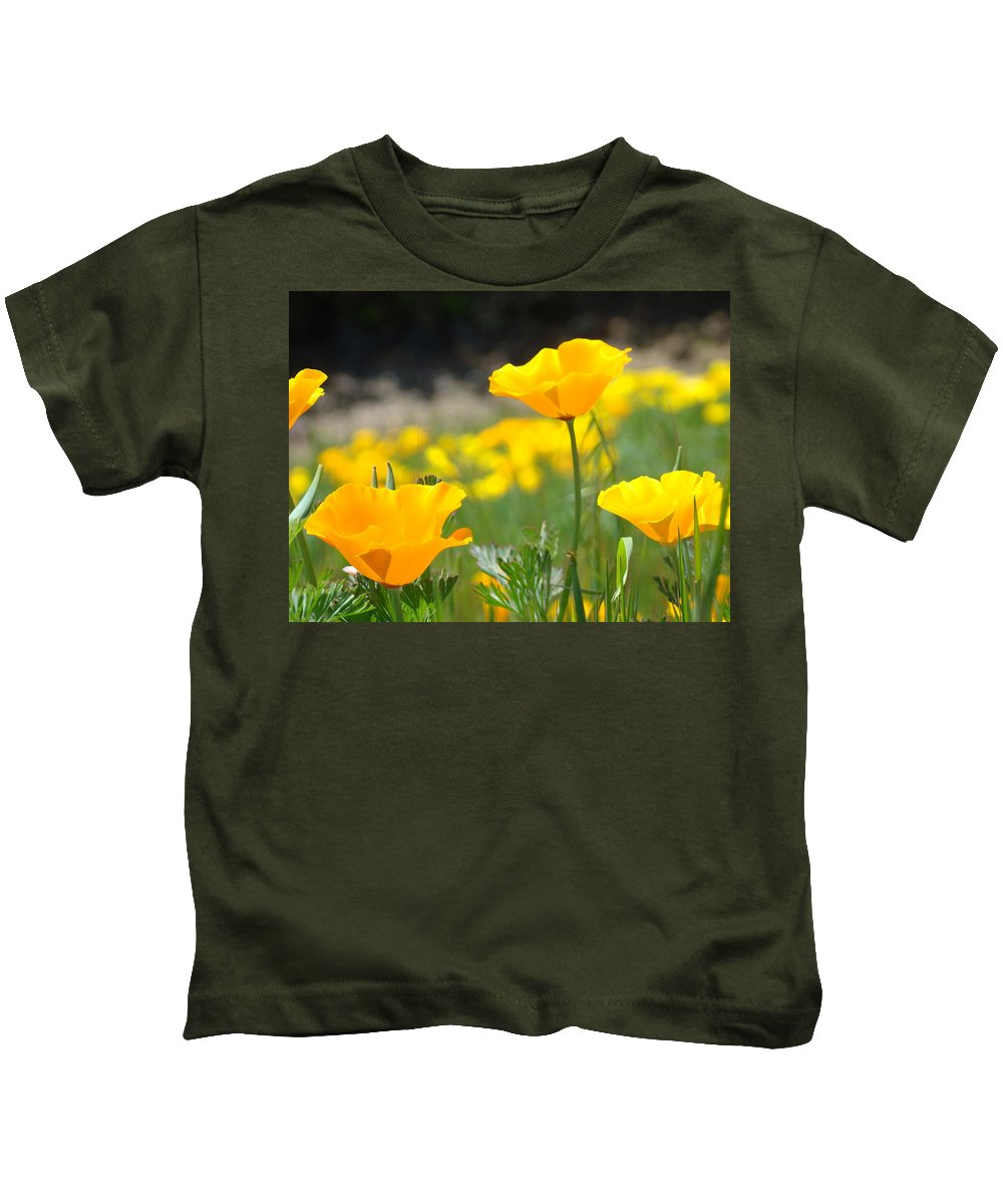 �poppies Artwork� Kids T-Shirt featuring the photograph Poppy Flower Meadow 11 Poppies Art Prints Canvas Framed by Baslee Troutman