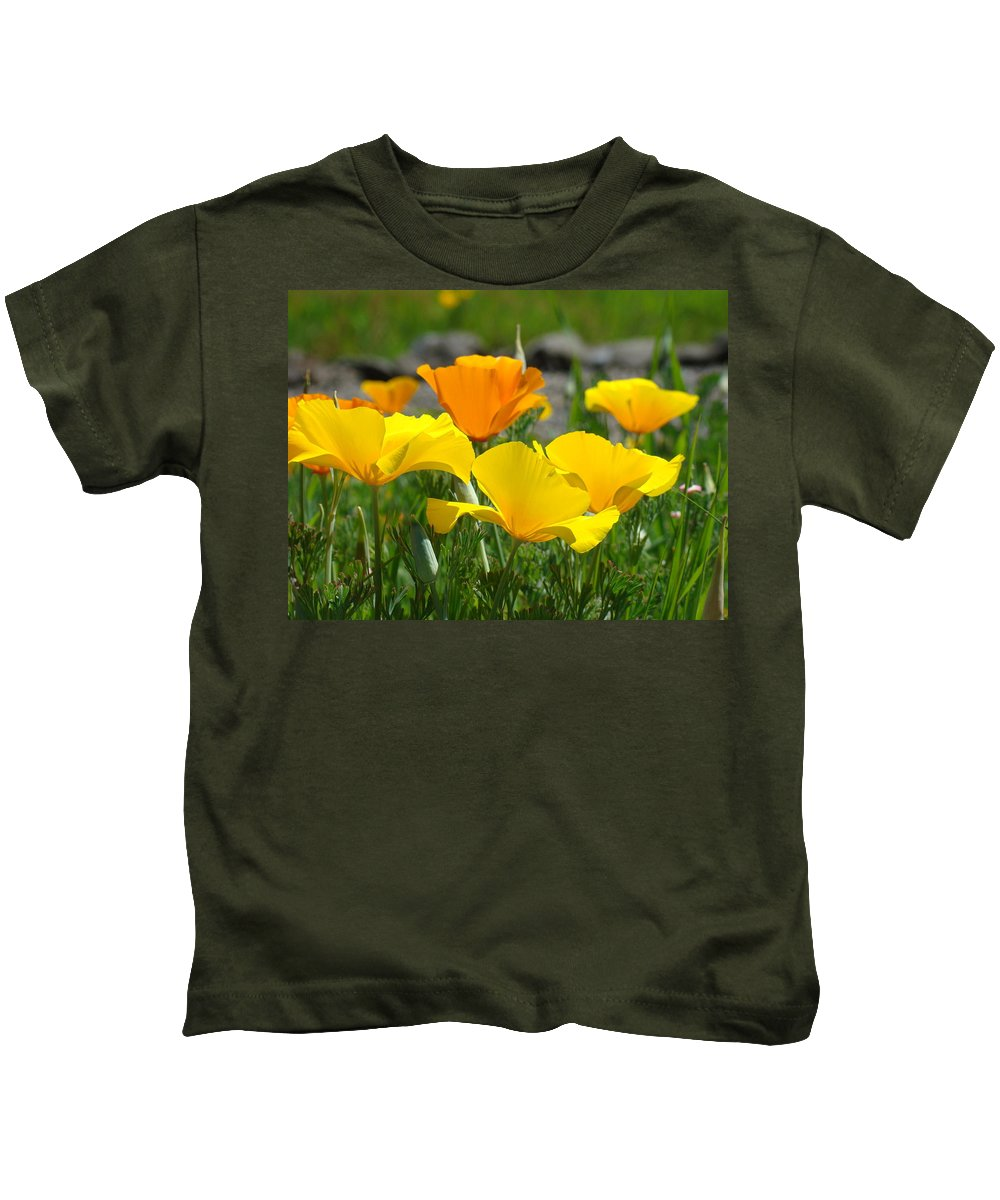 �poppies Artwork� Kids T-Shirt featuring the photograph Poppy Flower Meadow 14 Poppies Orange Flowers Giclee Art Prints Baslee Troutman by Baslee Troutman