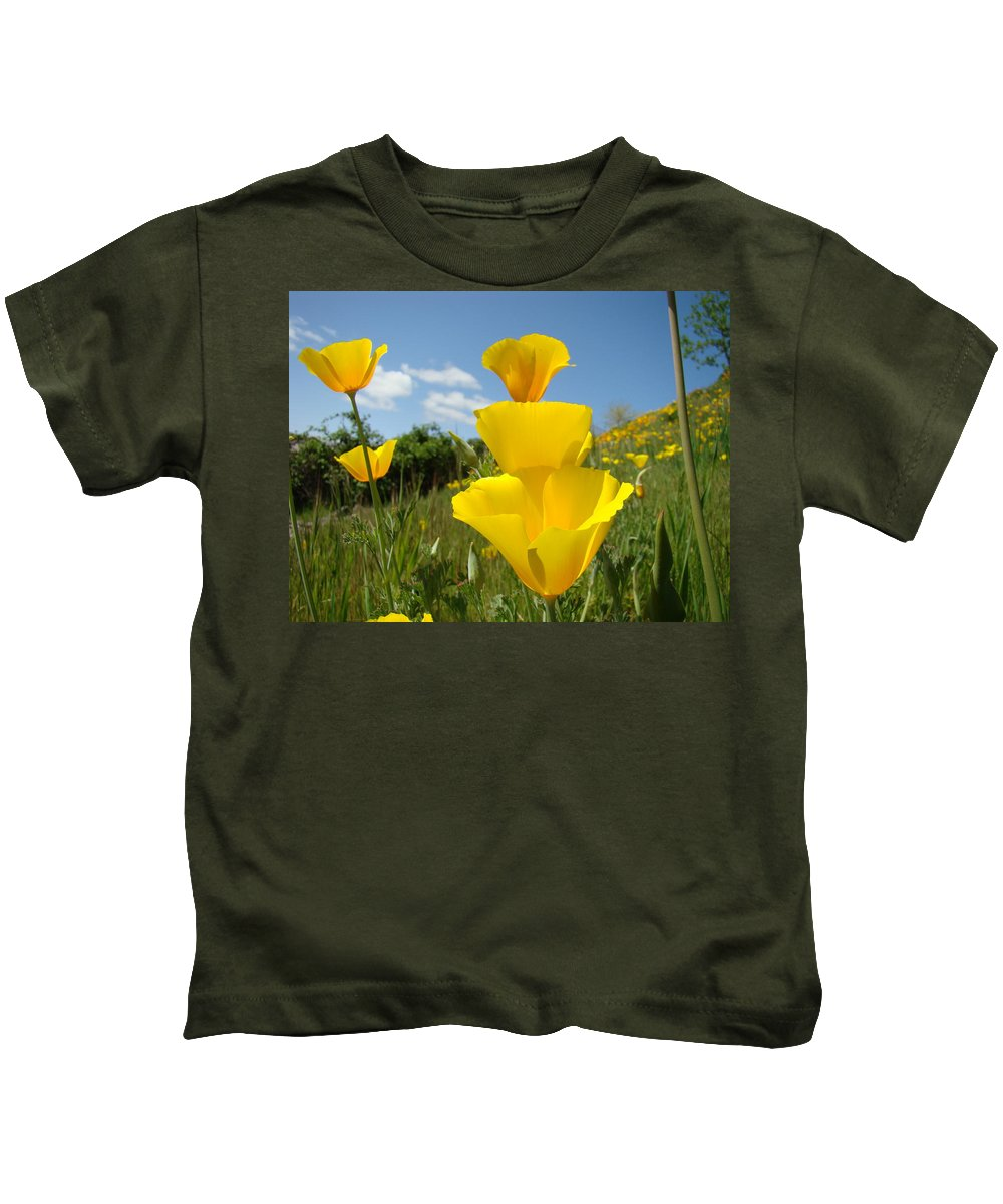 �poppies Artwork� Kids T-Shirt featuring the photograph Poppy Flower Meadow 7 Poppies Blue Sky Artwork Baslee Troutman by Baslee Troutman