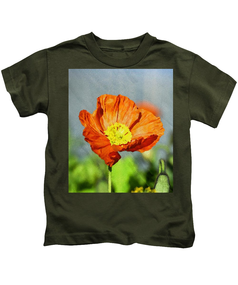 Red Kids T-Shirt featuring the painting Poppy - Id 16235-142758-2720 by S Lurk