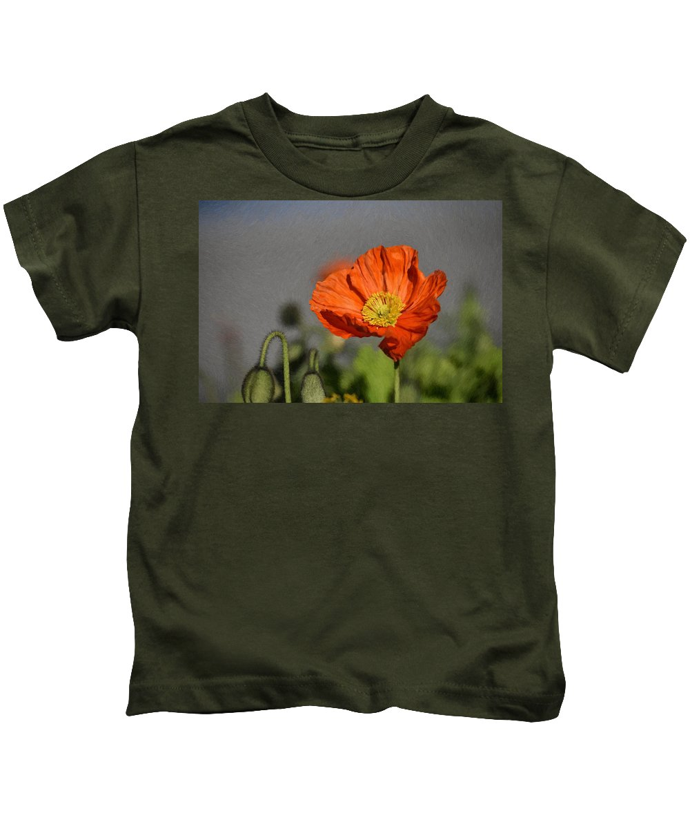 Red Kids T-Shirt featuring the painting Poppy - Id 16235-142806-2801 by S Lurk
