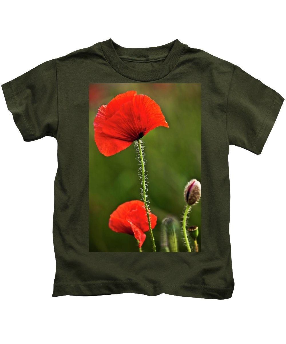 Nature Kids T-Shirt featuring the photograph Poppy Image by Heiko Koehrer-Wagner