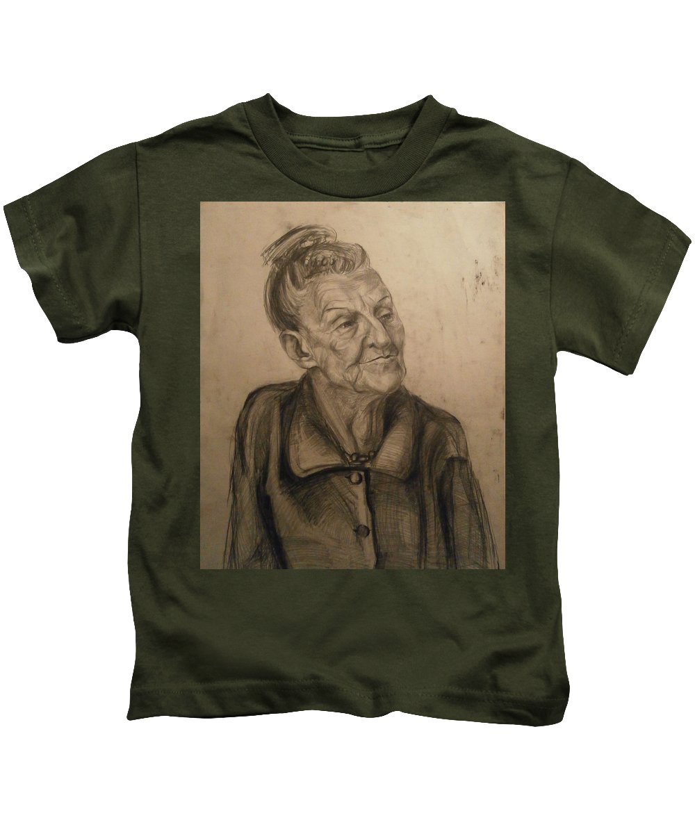 Portrait Kids T-Shirt featuring the drawing Portrait by Diana Raycheva