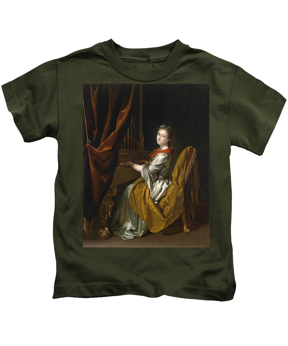 Herman Van Der Mijn Kids T-Shirt featuring the painting Portrait Of Barbara Janssens At The Organ by Herman van der Mijn