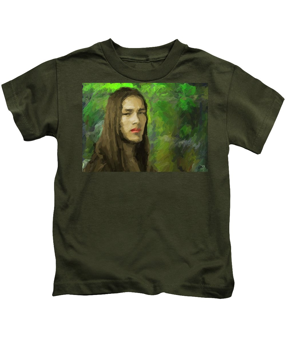 Portrait Kids T-Shirt featuring the painting Portrait Of Enzo. by Joaquin Abella