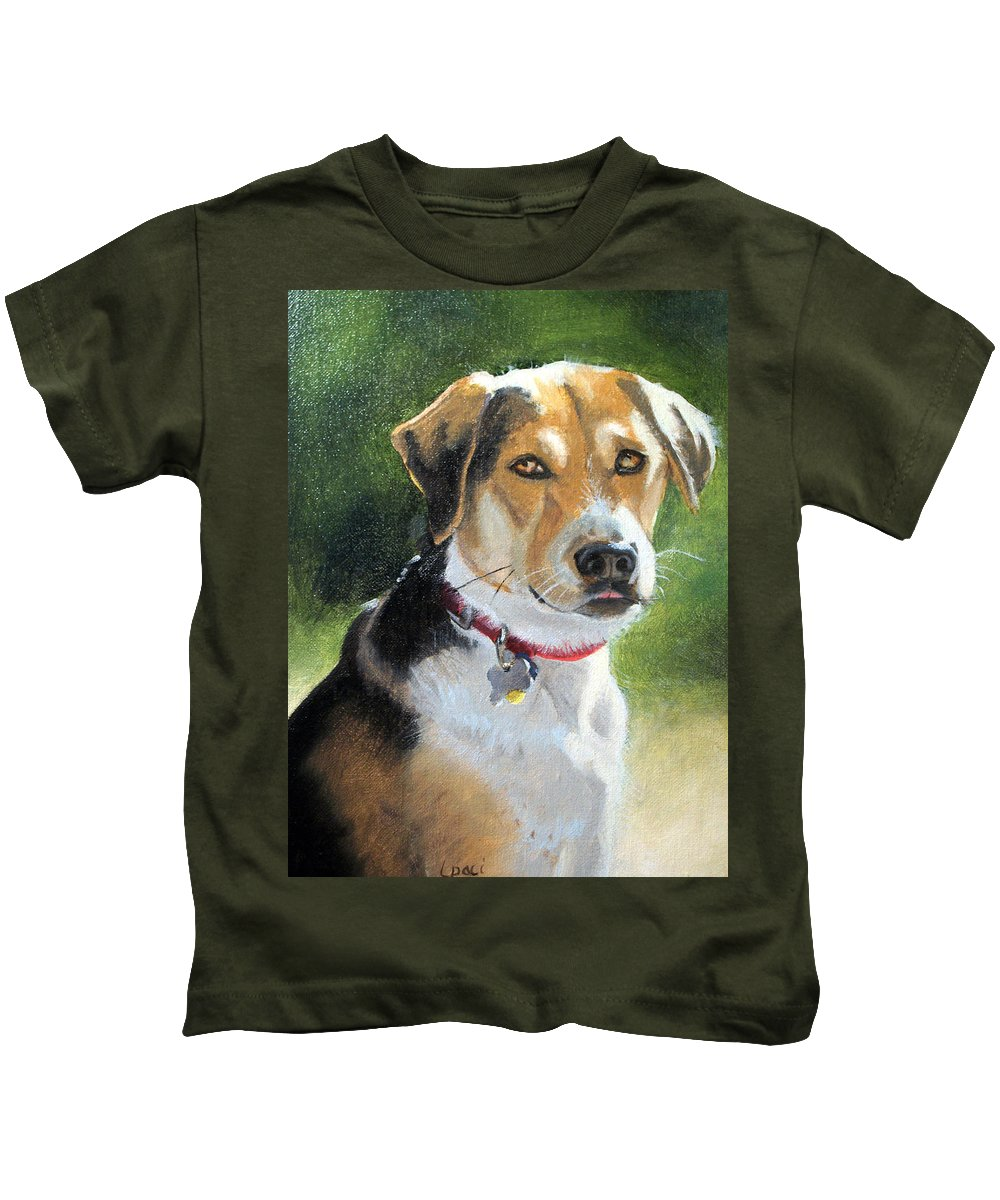 Dog Brown Kids T-Shirt featuring the painting Portrait Of Lucy In Nj by Laurie Paci