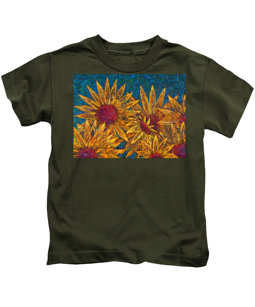 Flowers Kids T-Shirt featuring the painting Positivity by Oscar Ortiz