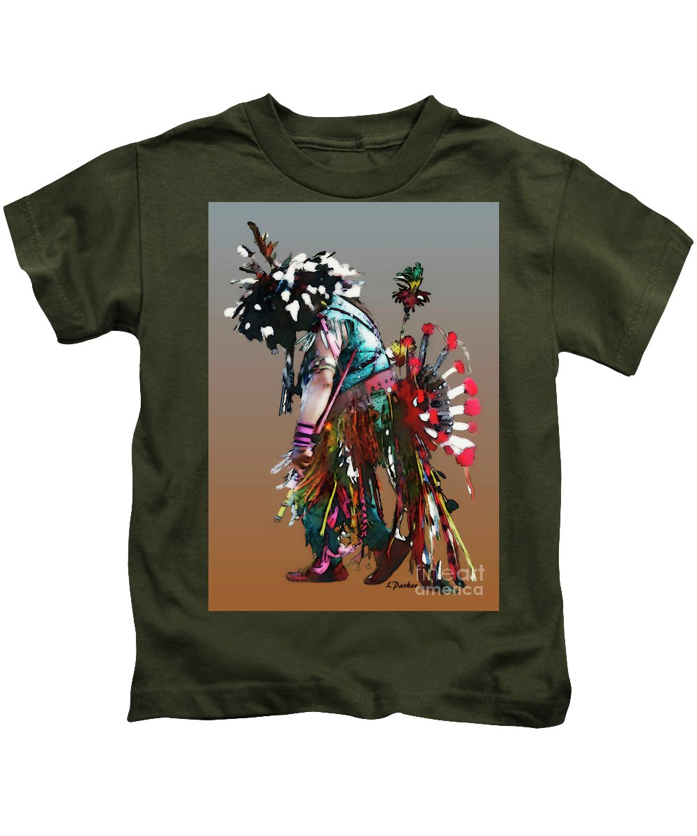 Abstract Kids T-Shirt featuring the photograph Pow Wow Dancer by Linda Parker