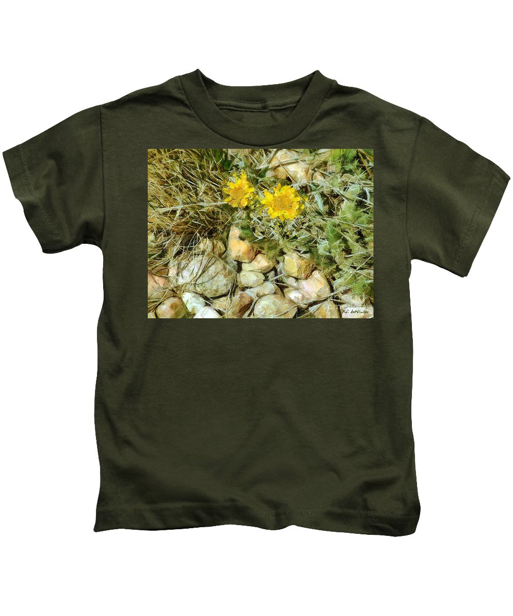 Colorado Kids T-Shirt featuring the painting Prairie Rock Garden by RC DeWinter