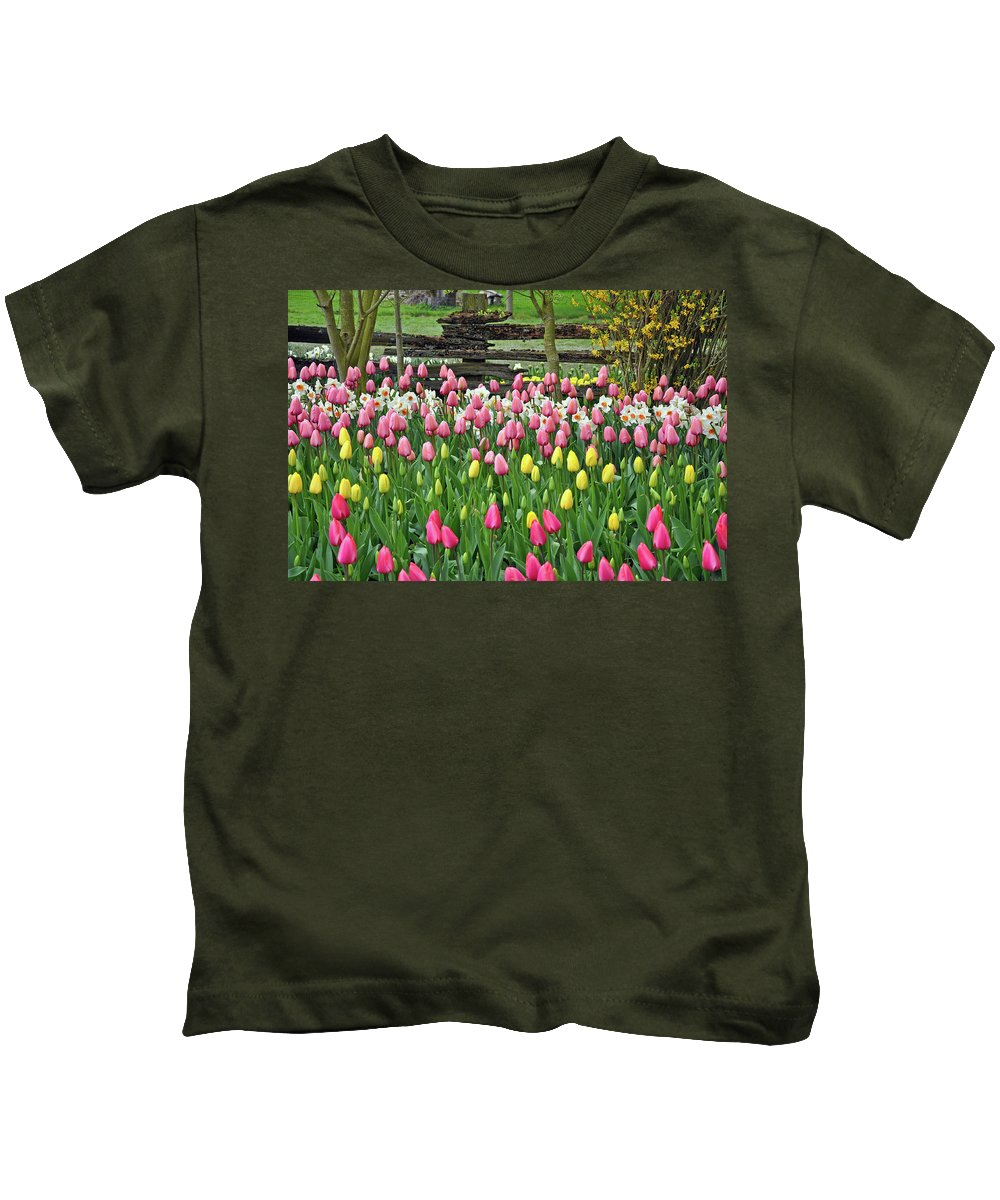 Fence Kids T-Shirt featuring the photograph Pretty Tulips Garden by Perl Photography