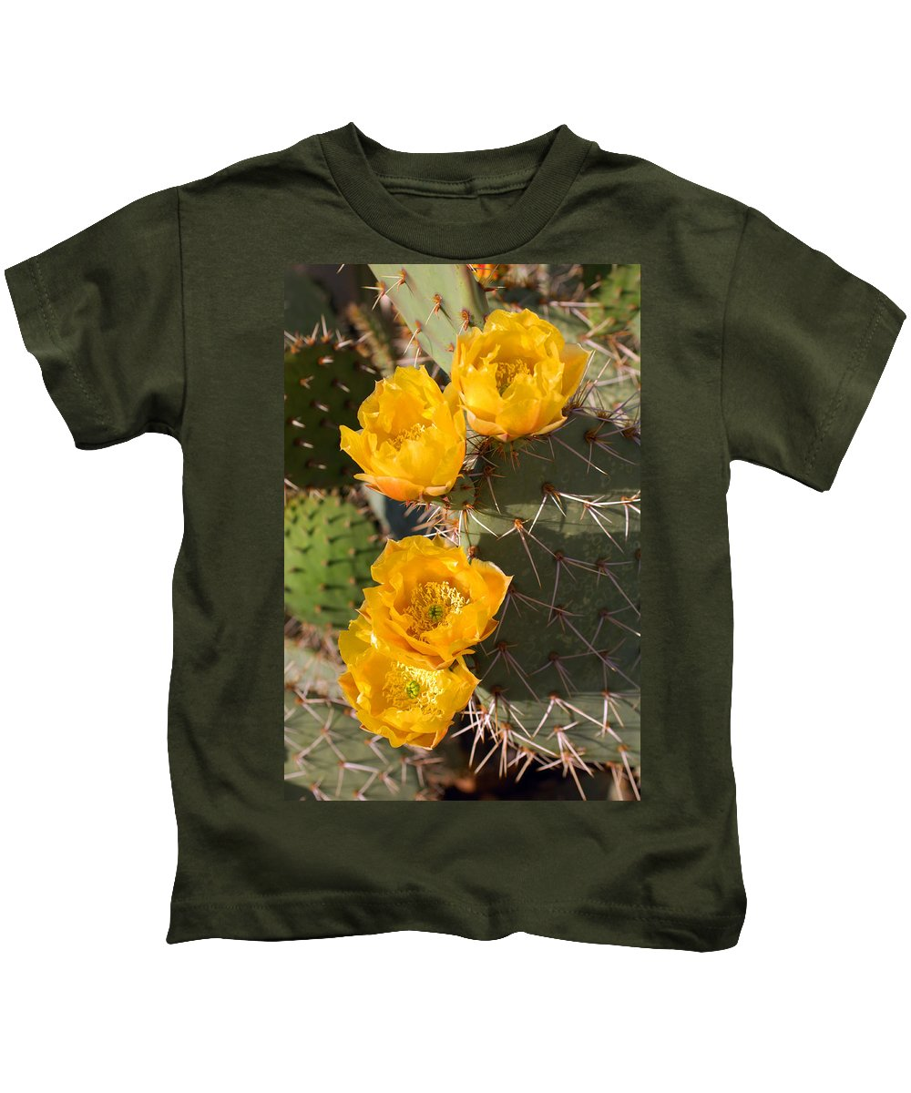 Cactus Kids T-Shirt featuring the photograph Prickly Pear Cactus Flowers by Jill Reger