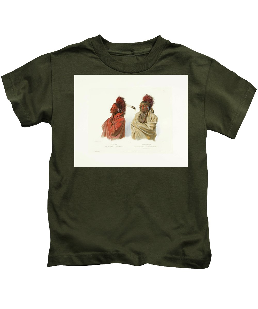 Amerika - Bodmer's America. Karl Bodmer's Illustrations To Prince Maximilian Of Wied-neuwied's Travels In The Interior Of North America 1832-1834 4 Kids T-Shirt featuring the painting Prince Maximilian Of Wied by MotionAge Designs