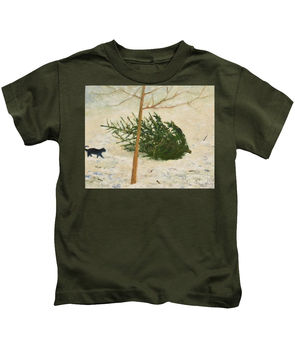 Cat Kids T-Shirt featuring the painting Principle by Oleg Konin