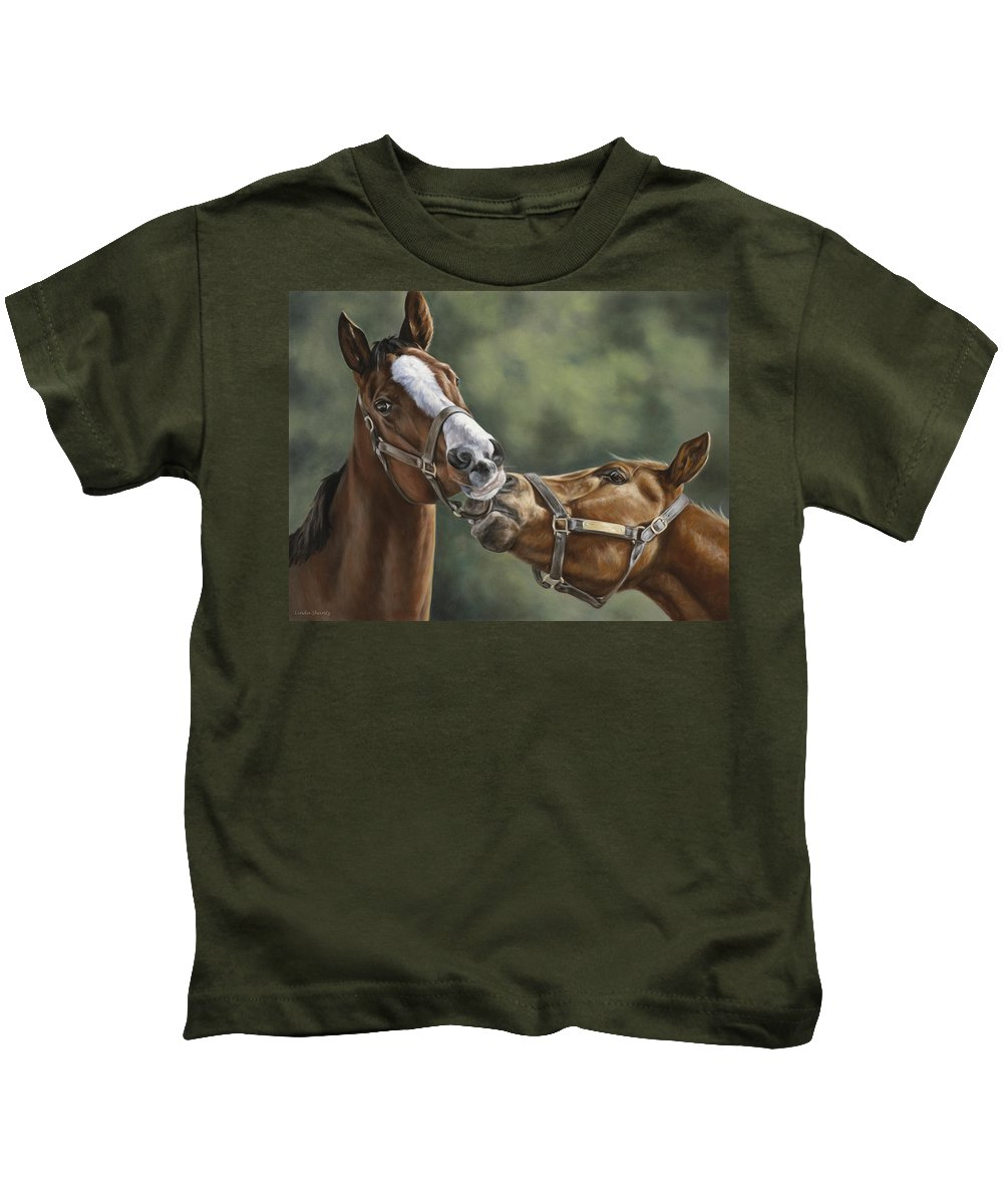 Horse Kids T-Shirt featuring the painting Promises Promises by Linda Shantz