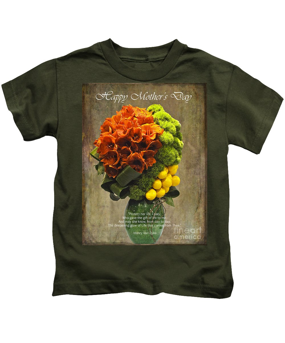 Henry Van Dyke Kids T-Shirt featuring the photograph Protect Her Life Happy Mother's Day Card by Nina Silver