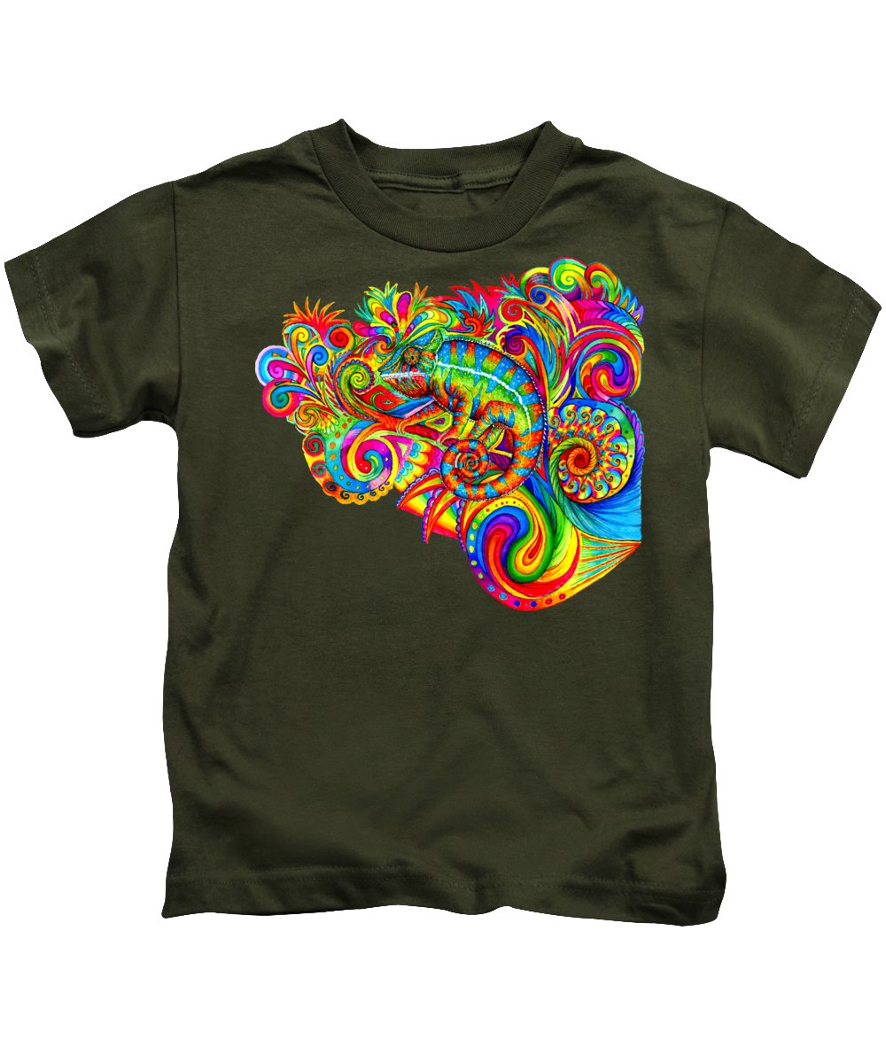 Psychedelic Kids T-Shirt featuring the drawing Psychedelizard - Psychedelic Rainbow Chameleon by Rebecca Wang