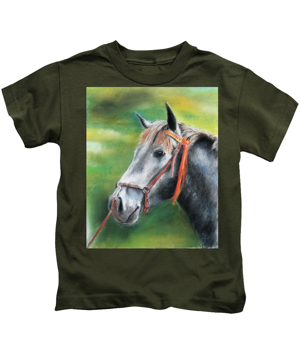 Horse Kids T-Shirt featuring the painting Pure Spanish by Ceci Watson