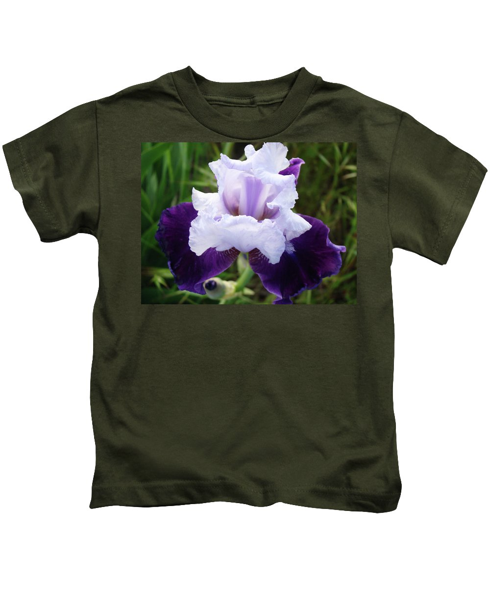 Iris Kids T-Shirt featuring the photograph Purple Iris Flower Art Prints Garden Floral Baslee Troutman by Baslee Troutman