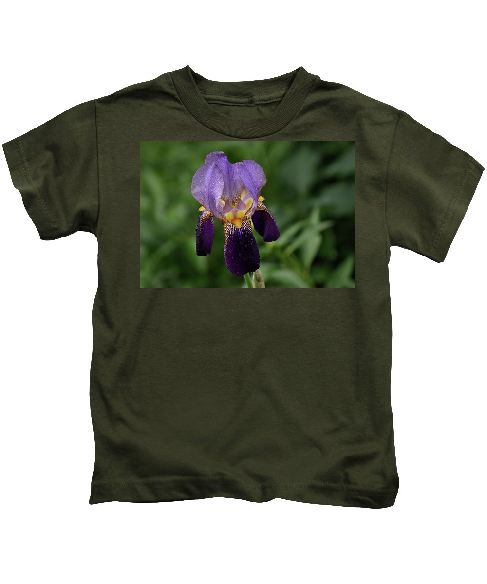 Iris Kids T-Shirt featuring the photograph Purple Iris by Sandy Keeton