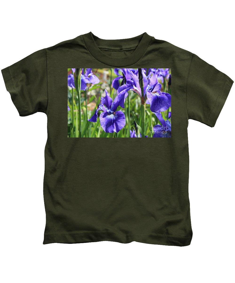Purple Flowers Kids T-Shirt featuring the photograph Purple Irises by Carol Groenen