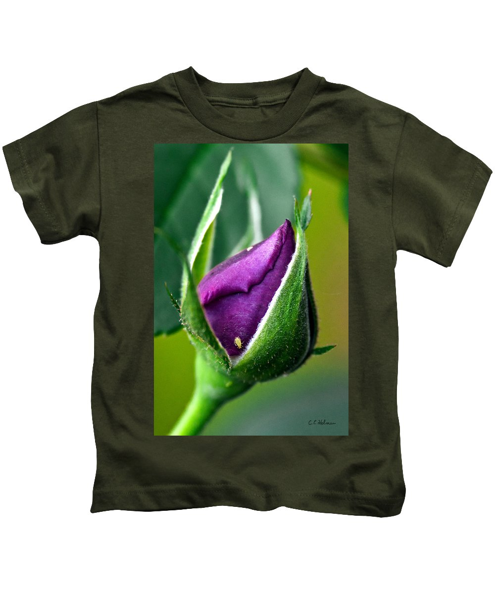 Rose Kids T-Shirt featuring the photograph Purple Rose Bud by Christopher Holmes