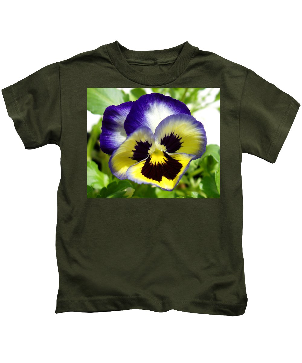 Pansy Kids T-Shirt featuring the photograph Purple White and Yellow Pansy by Nancy Mueller