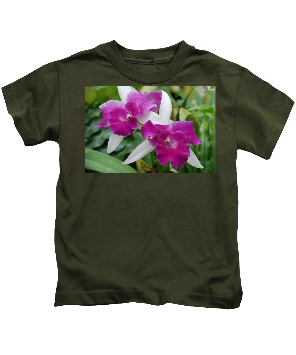 Macro Kids T-Shirt featuring the photograph Purple White Orchids by Rob Hans