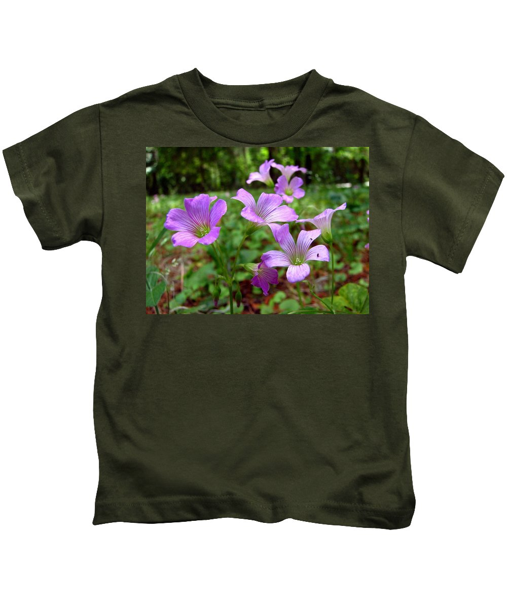 Wildflowers Kids T-Shirt featuring the photograph Purple Wildflowers Macro 2 by J M Farris Photography