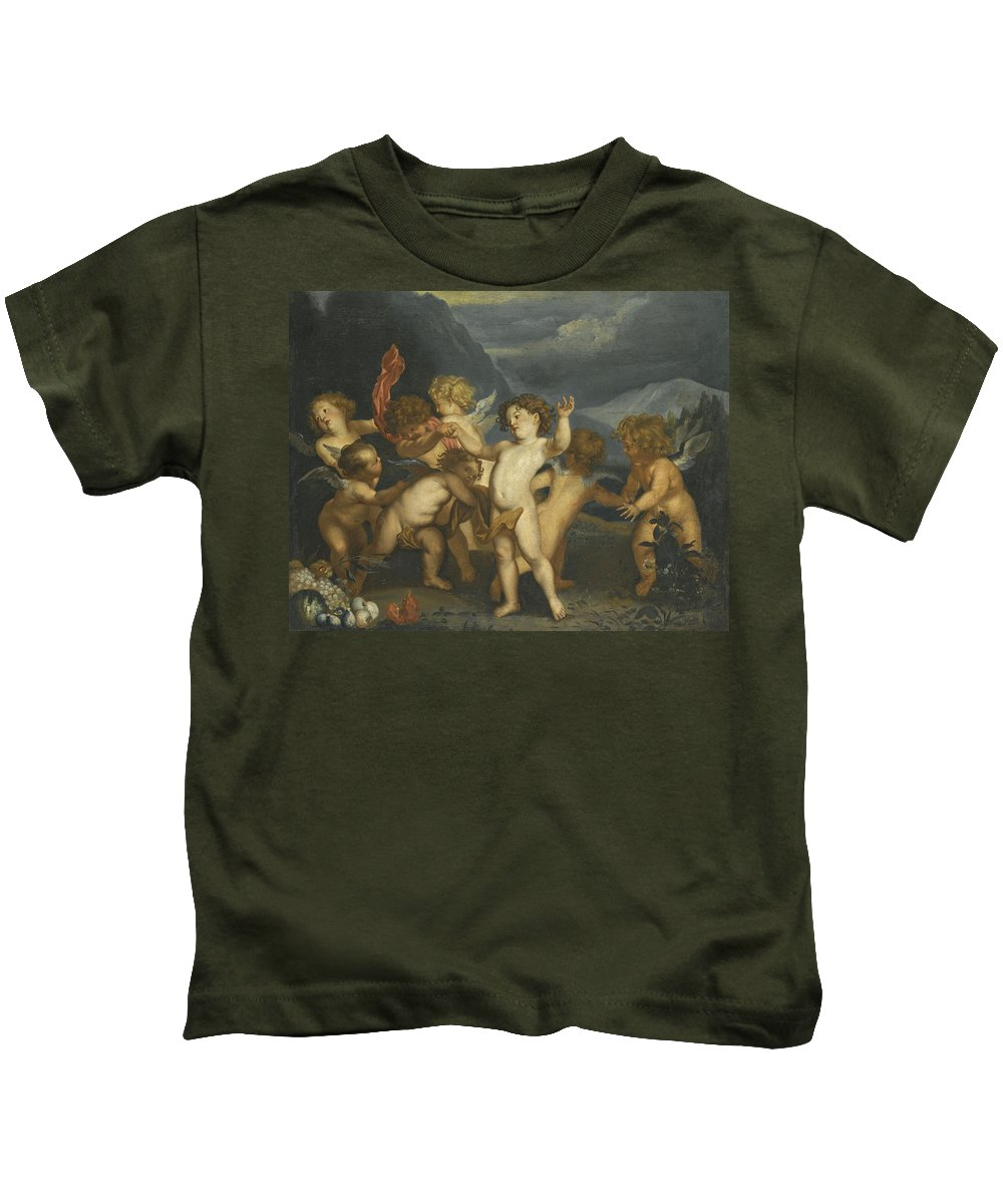 After Anthony Van Dyck Kids T-Shirt featuring the painting Putti In A Landscape by After Anthony van Dyck