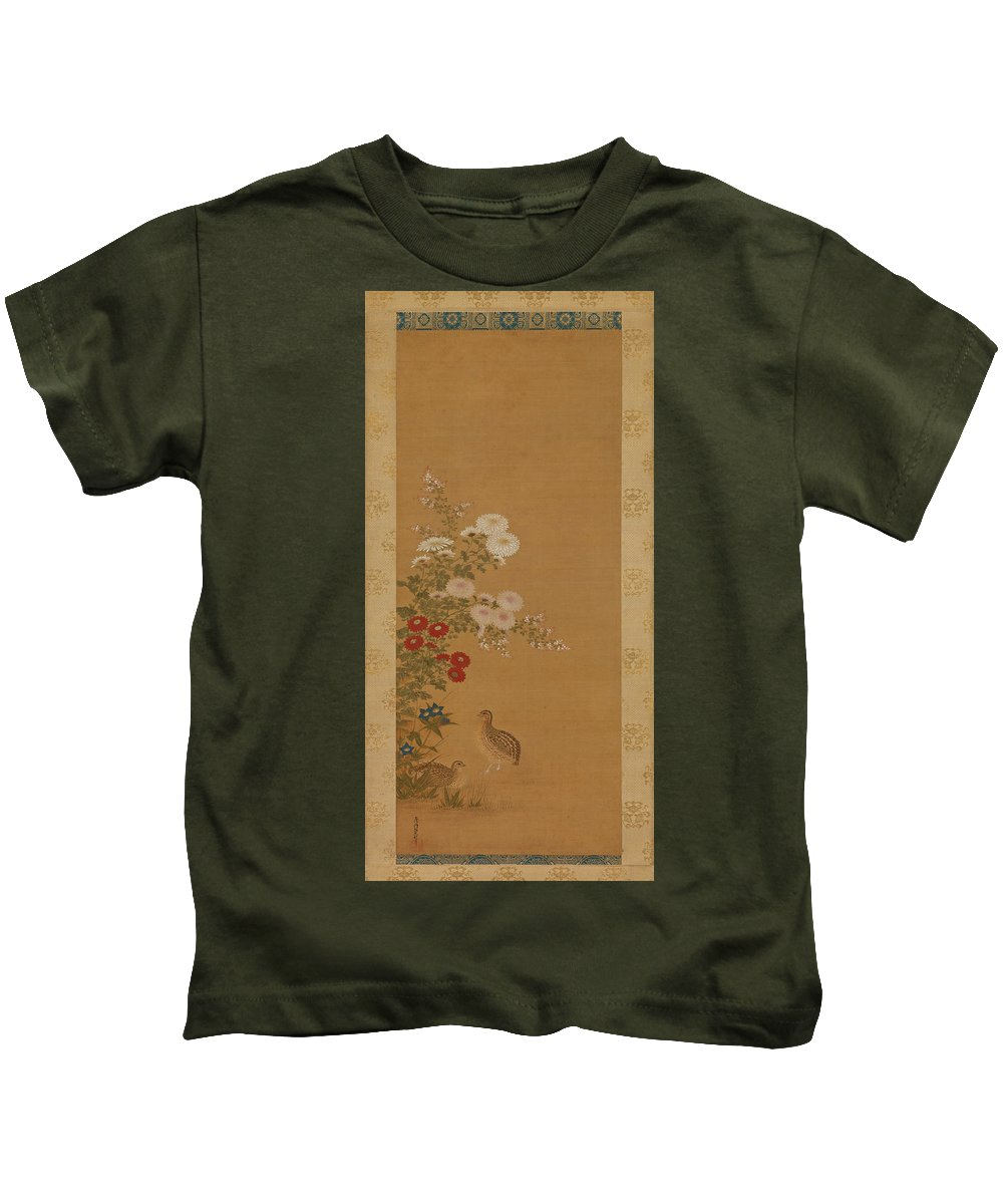 Tosa Mitsuoki Kids T-Shirt featuring the drawing Quail Under Autumn Flowers by Tosa Mitsuoki