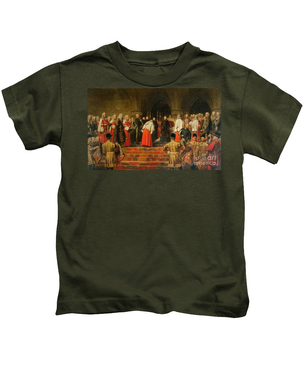 Henry Tanworth Wells - Queen Victoria Opening Of The Royal Courts Of Justice Kids T-Shirt featuring the painting Queen Victoria Opening by MotionAge Designs