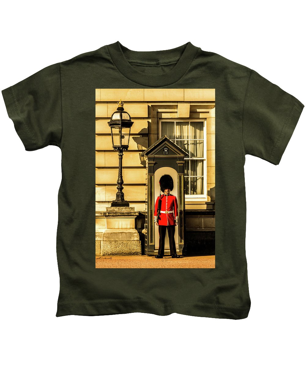 Queen Kids T-Shirt featuring the photograph Queens Guards. by Nigel Dudson