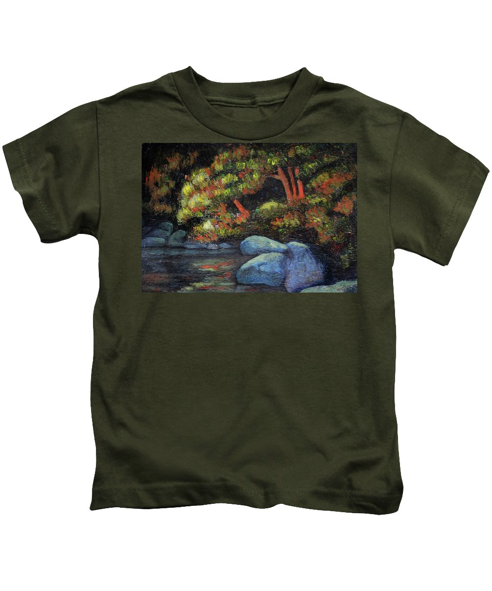 Pond Kids T-Shirt featuring the painting Quiet Pond At Dusk by Richard Votch