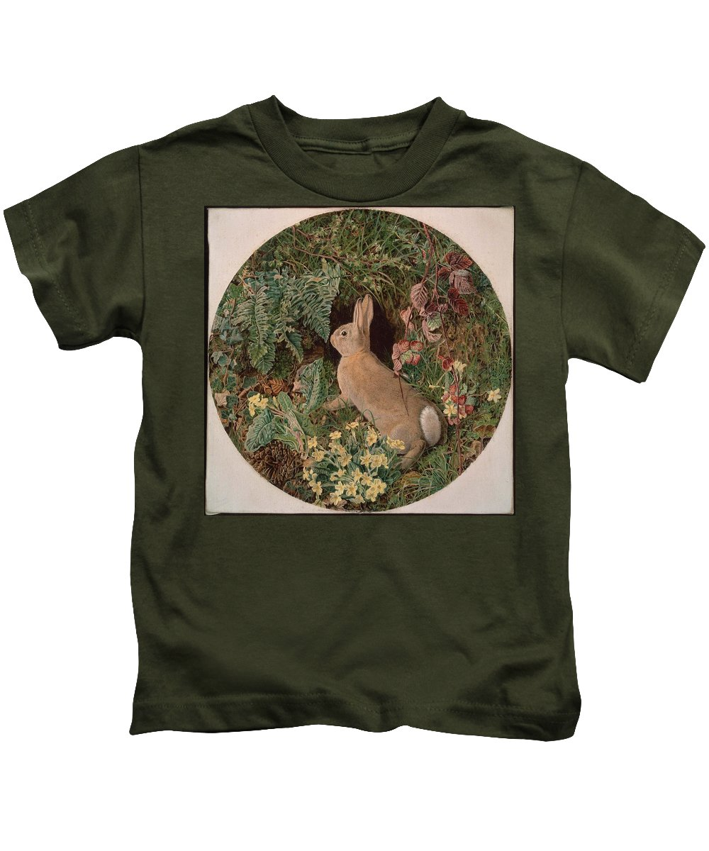 Rabbit Amid Ferns And Flowering Plants Kids T-Shirt featuring the painting Rabbit Amid Ferns And Flowering by MotionAge Designs
