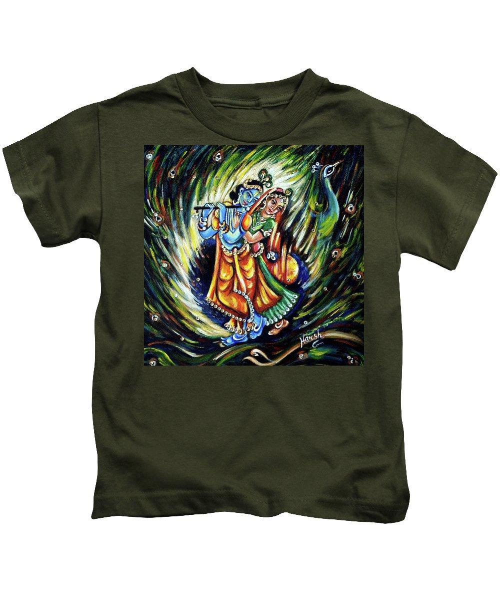 Krishna Kids T-Shirt featuring the painting Radhe Krishna by Harsh Malik