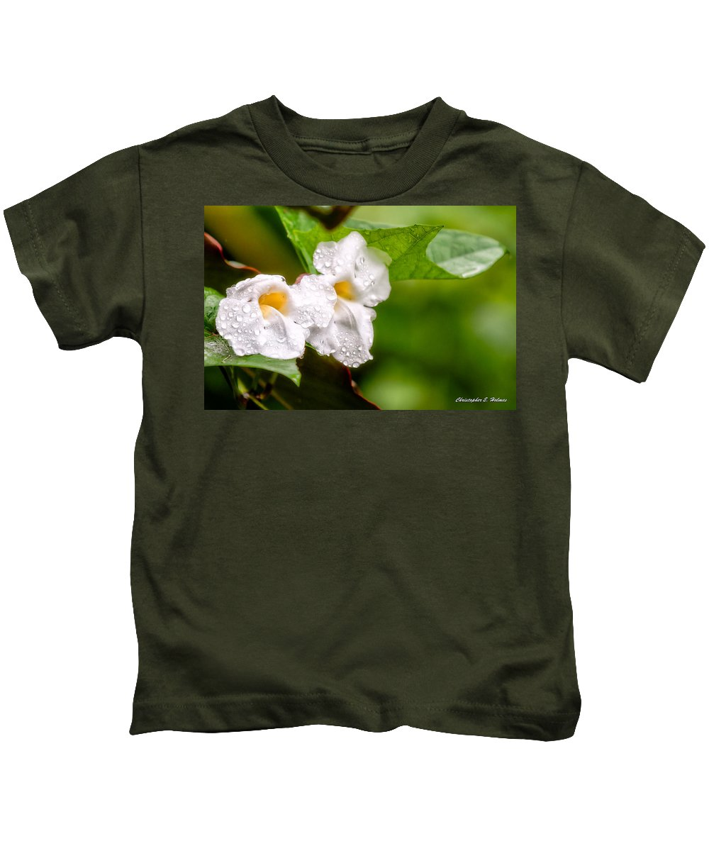 Flora Floral Plant Blossom Bloom Garden Petals Blooms Blossoms Plants Ocular Perceptions Ocularperceptions Photograph Flower Flowers Nature Pics Photo Image Photography Sony christopher Holmes Kids T-Shirt featuring the photograph Rain Drenched Pair by Christopher Holmes