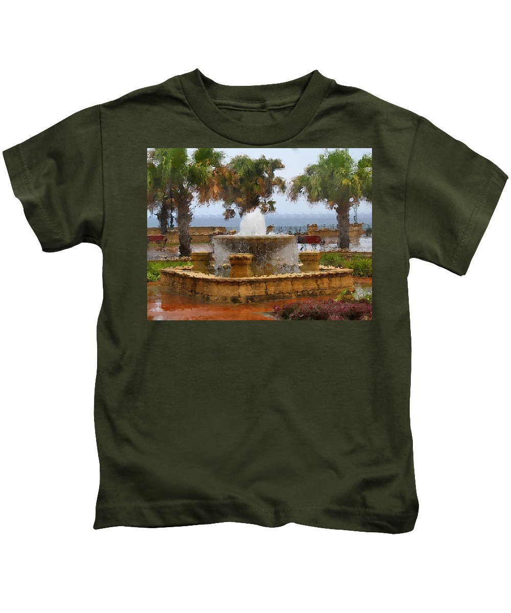 Fountain Kids T-Shirt featuring the photograph Rain Soaked Fountain by Deborah Napelitano