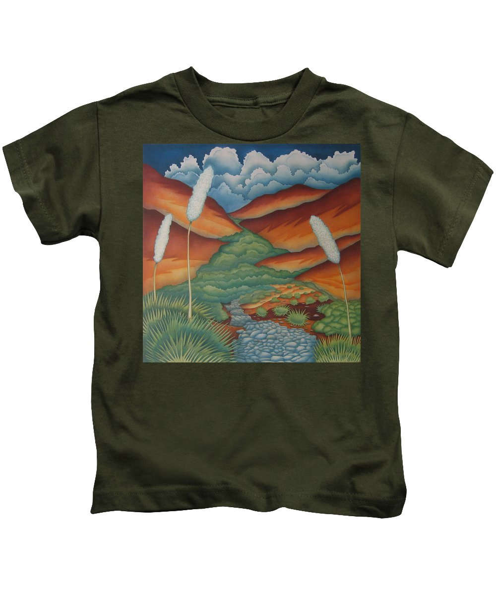 Landscape Kids T-Shirt featuring the painting Rain Trail by Jeniffer Stapher-Thomas
