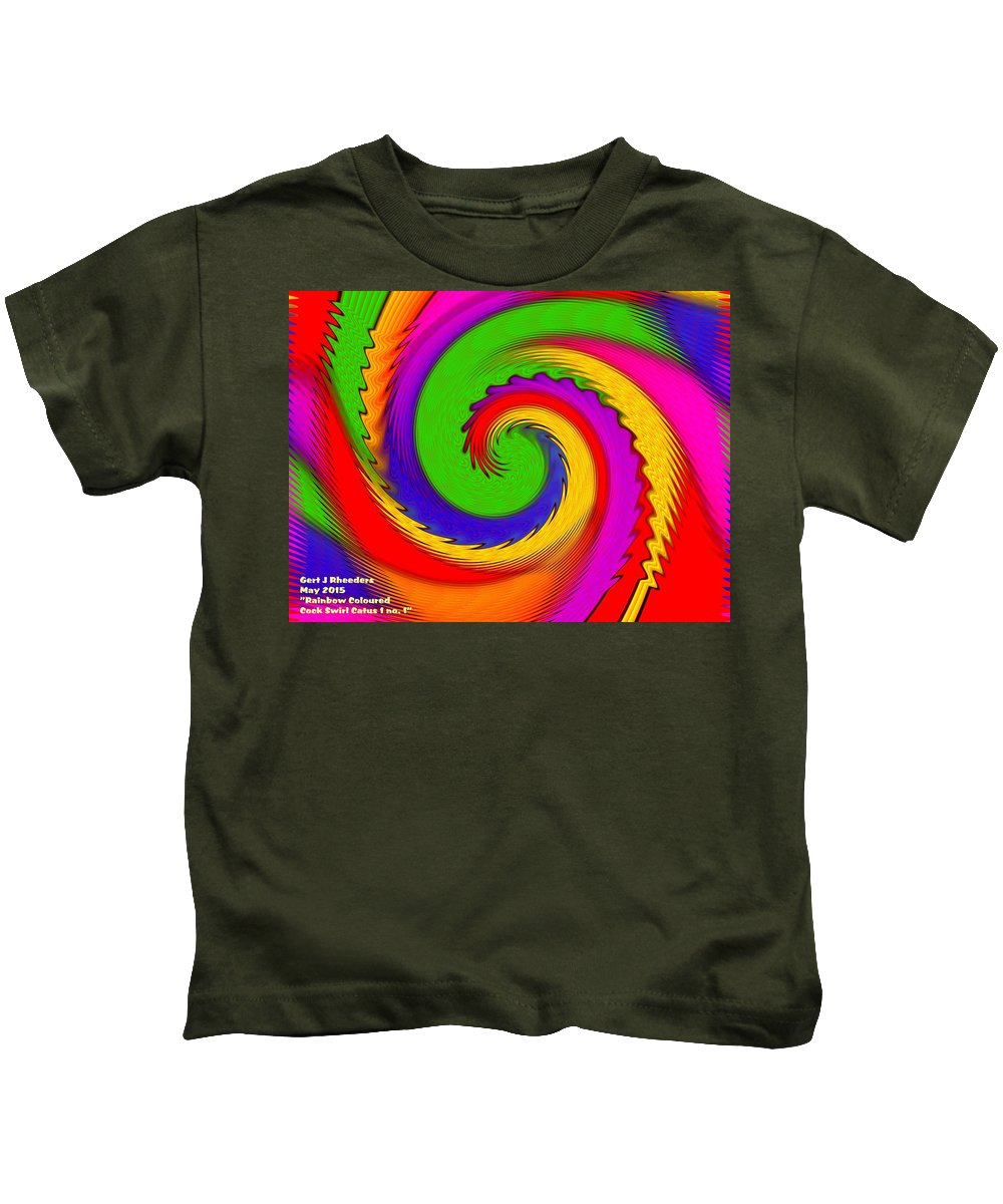 Announcement Kids T-Shirt featuring the painting Rainbow Coloured Cock Swirl H A by Gert J Rheeders