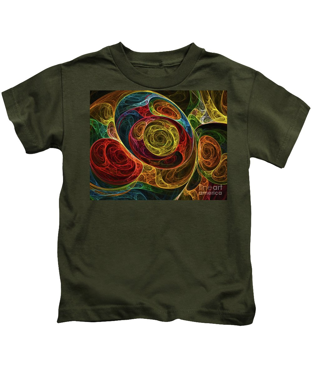 Psychedelic Art Kids T-Shirt featuring the digital art Rainbow Egg Formation Abstract by Olga Hamilton