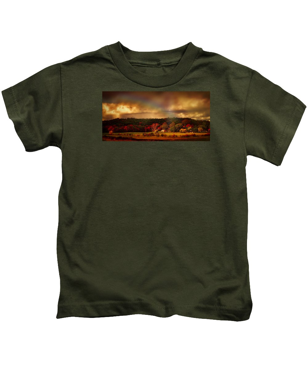 Rainbow Kids T-Shirt featuring the photograph Rainbow Over Countryside by Lilia D